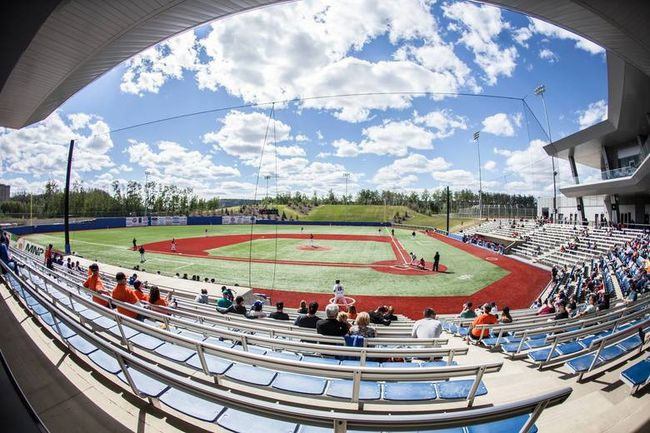 The Fort McMurray Giants and Okotoks Dawgs compete against each other under blue skies in WMBL action at Shell Place on Sunday, June 11, 2017. Robert Murray/Fort McMurray Today/Postmedia Network
