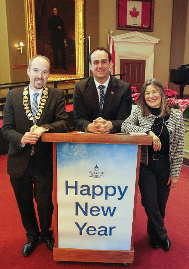 Mayor Bryan Paterson, left, Kingston and the Islands MP Mark Gerretsen and MPP Sophie Kiwala gave remarks at the 2018 New Year's Levee in Memorial Hall at City Hall on Monday. (Julia McKay/The Whig-Standard/Postmedia Network)