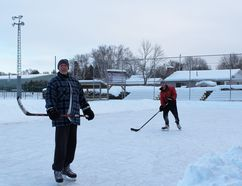 The father-son team of Frank (front) and Matt Johnston, of Barrie, enjoyed the new outdoor ice rink at Bluewater Park in Wiarton on a frigid Dec. 27. Photo by Zoe Kessler/Wiarton Echo