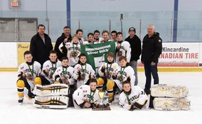 Members of the Mitchell Pee Wee hockey team, Regional 'B' Silver Stick champions in Kincardine. They advance to the International tournament this weekend in Forest. SUBMITTED
