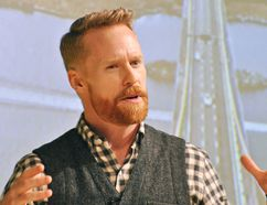 Olympic gold medalist and Amazing Race Canada host Jon Montgomery speaks at the SouthWest Agricultural Conference at Ridgetown District High School on Wednesday. (Tom Morrison/Postmedia Network)