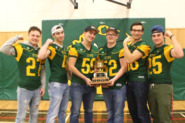 Fort High Sting football players Parker Cullum, Donavin Vibbert, Matt Mackay, Tyler Harter, Nate Mckay, Andrew Poholka, Avery Lacusta and Chase Pouliot were all selected for Metro's All-Edmonton Senior Football Team. The students were picked for their exceptional work during the 2017 season. Missing from photo are Nate Mckay and Chase Pouliot.