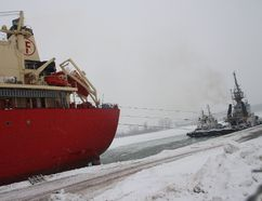 <p>A team of three tugboats tried to free the Federal Biscay from ice buildup in the Snell Lock by pulling it backwards on Thursday January 4, 2018 in Massena, N.Y.</p><p> Alan S. Hale/Cornwall Standard-Freeholder/Postmedia Network