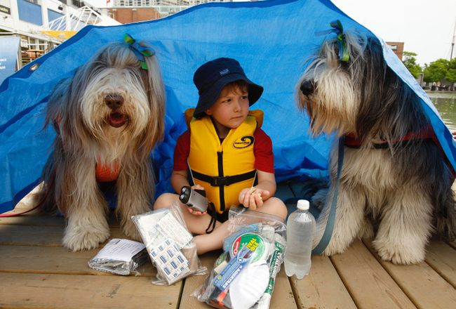 <p>Jack Mania, 4, sits under his tarp along with other  essentials from his 72-hour emergency kit along with Scout a bearded collie on the left and Rudy is on the right in this 2010 file photo.</p><p>
