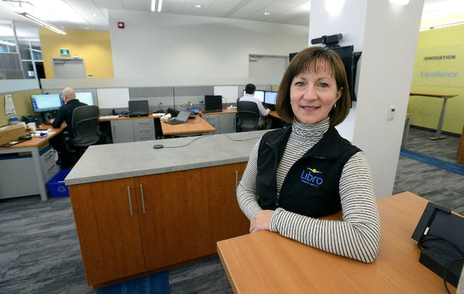 Tania Goodine, executive vice-president engagement at Libro Credit Union, shows the company's new floor of office space at their York Street building Friday. (MORRIS LAMONT, The London Free Press)
