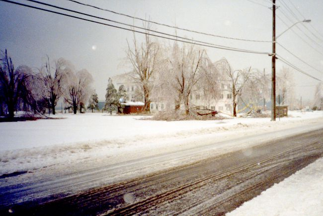 Water Street and Hardy Park are covered in the ravages of the Ice Storm of 1998 in this photo provided by the Brockville Museum. (SUBMITTED PHOTO)