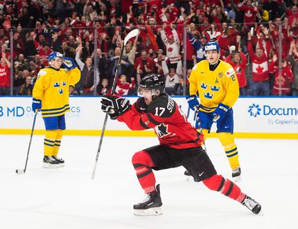 Canada forward Tyler Steenbergen (17) celebrates his game winning goal against Sweden during third period gold medal final IIHF World Junior Championships hockey action in Buffalo, N.Y., on Friday, January 5, 2018. THE CANADIAN PRESS/Nathan Denette