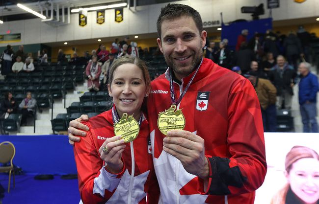 Kaitlyn Lawes and John Morris display their gold medals after winning the mixed doubles Olympic trials final over Brad Gushue and Val Sweeting in Portage la Prairie, Man., on Sun., Jan. 7, 2018. Kevin King/Winnipeg Sun/Postmedia Network