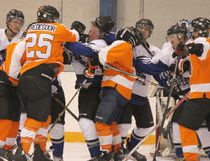 The Hanna Phantoms faced off against the Forestburg Flyers on Friday, Jan. 5, winning against the third-ranked team in the league 5-4 in a nailbiter of an East Central Alberta Senior Hockey League game. (Jackie Irwin/ Hanna Herald/ Postmedia Network)