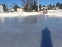 During frigid winter weather, the Infrastructure Services and the Community Services departments were out with hoses and made another large pad for skating. The public is invited to go and enjoy the facility