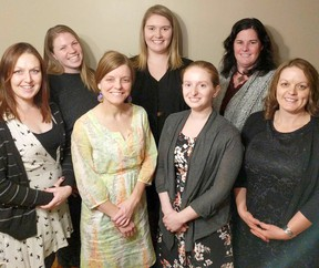 The team at Huron Midwives welcomed their first baby of 2018 in the Lucknow area. Left to right: Jasmine Graham (RM), Siobhan Morrison (RM), Mélissa Boizot-Roche (RM), Ellen Peel (RM), Krista DiCecco, Kendra Wilts (second birth attendant), and Valerie Shortreed (administrator).