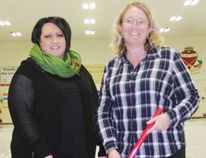 JOANNE McQUARRIE/ FAIRVIEW POST Angie Thompson, vice president of the Fairview Curling Club, and Kerry Appleton, president, welcomed curlers, from newbies to seasoned players, to the curling rink. Several bonspiels are on the schedule, including the annual Family Bonspiel and the Corporate Challenge this coming weekend.