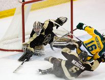 DAVID BLOOM, Postmedia Network - University of Alberta Pandas' Alexandra Poznikoff (16) is dragged down by the Manitoba Bisons' defenceman last weekend. The U-Sports schedule resumed after the holiday break.