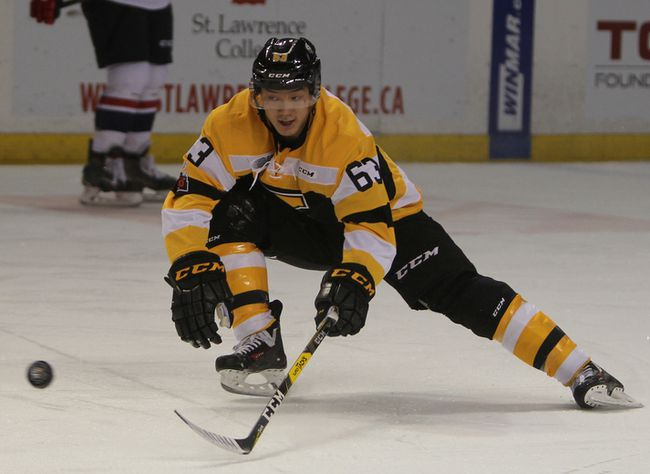 Kingston Frontenacs forward Cliff Pu in action during his first game as a member of the Kingston Frontenacs on Friday night at the Rogers K-Rock Centre. (Steph Crosier/The Whig-Standard)