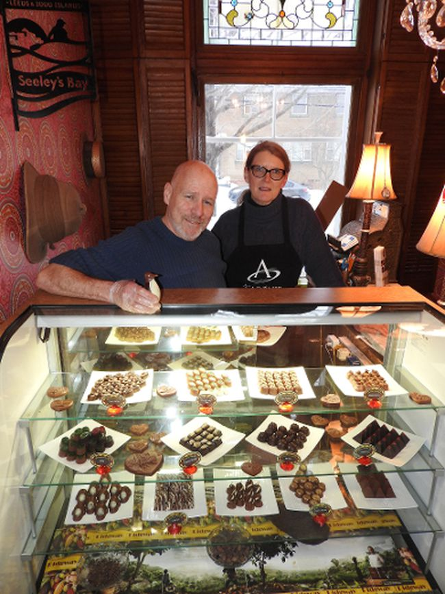 Derek Ouellet and Cindy Healey in their chocolate shop.