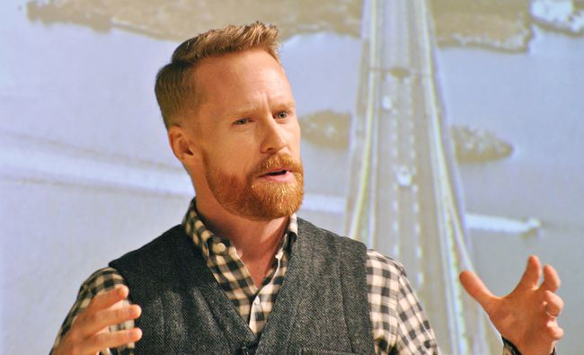 Olympic gold medalist and Amazing Race Canada host Jon Montgomery speaks at the SouthWest Agricultural Conference at Ridgetown District High School on Jan. 3.