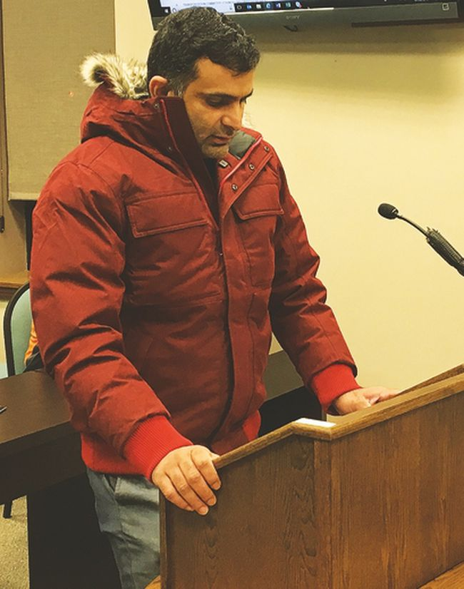 Wasiq Razzaq addresses Portage la Prairie city council during Monday night's council meeting. (Submitted)