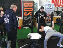 Photo by PAUL KAZULAK/FOR THE STANDARD Elliot Lake's Spencer D'Amato was one of a dozen competitors at the Bench Press for Lily strongman competition at the Muscle Factory last month.