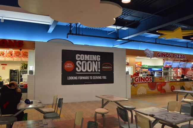 A miniature version of the popular chicken restaurant Swiss Chalet  is coming to the Rainbow Centre's food court next month, in combination with a Harvey's outlet.