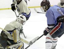 A blocker save is made in tight during the Rural Edmonton Minor Hockey League's Midget-15 AA All-Star game at the Sherwood Park Shell last Sunday afternoon. Photo by Shane Jones/Sherwood Park News/Postmedia Network