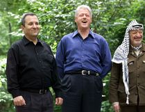 STEPHEN JAFFE/Getty Images Then Israeli Prime Minister Ehud Barak, from left, U.S. President Bill Clinton and Palestinian leader Yasser Arafat pose for a photograph at Laurel Cabin, the site where former Egyptian president Anwar Sadat, former Israeli prime minister Menachem Begin and former U.S. president Jimmy Carter conducted peace talks in 1978, during the Middle East Peace Summit on July 11, 2000, at Camp David, Maryland, the U.S. presidential mountain-top retreat.
