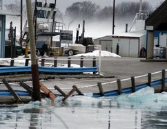 The north side of the causeway road leading to the Bluewater Ferry at Sombra, Ontario was damaged by ice on Thursday, Jan. 11, causing the ferry service to be closed indefinitely. (David Gough/Postmedia Network)