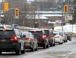 Southbound traffic on Montreal Street at the corner of Railway Street is backed up during a Thursday power outage. (Ian MacAlpine/The Whig-Standard/Postmedia Network)