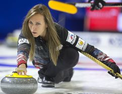 Rachel Homan delivers a rock in the fourth end against Swiss skip Silvana Tirinzoni during the first draw at the World Financial Group Continental Cup at Western Fair Sports Centre on Thursday. The Canadian rink struggled, falling behind 5-0 after two ends, and lost 9-3. (MIKE HENSEN, The London Free Press)