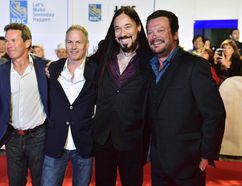 "The Tragically Hip, from left, Gord Sinclair, Johnny Fay, Rob Baker and Paul Langlois arrive on the red carpet for the movie ""Long Time Running"" during the 2017 Toronto International Film Festival in Toronto on Wednesday, September 13, 2017. Newstrike Resources Ltd. says the Tragically Hip is backing the company's deal to be acquired by CanniMed Therapeutics Inc. THE CANADIAN PRESS/Frank Gunn"