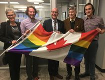Former city councillor Megan Walker, medical officer of health Christopher Mackie, Mayor Matt Brown, former HALO president Richard Hudler and London Pride president Andrew Rosser attend Brown's apology Friday for then-mayor Dianne Haskett's refusal in 1995 to proclaim Gay Pride Week. (MEGAN STACEY, The London Free Press)