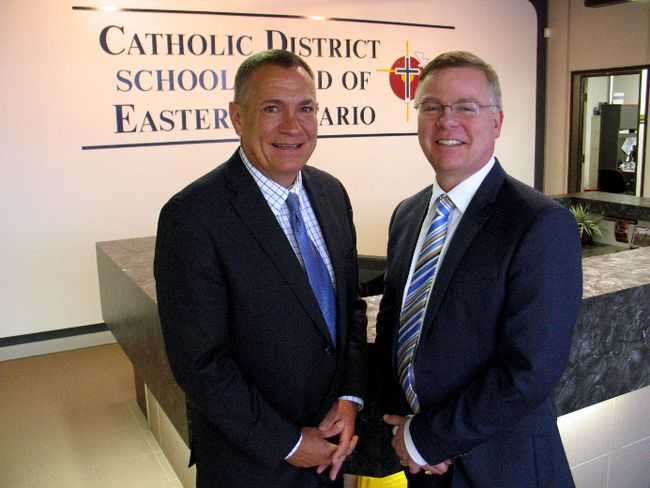 <p>Todd Lalonde (left), the Catholic District School Board of Eastern Ontario chair of the board of trustees, and director of education John Cameron have a long history of friendship and family connections. Photo on Friday, January 12, 2018, in Cornwall, Ont.</p><p>