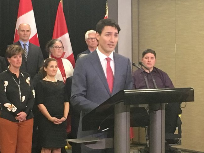 """""""Once the law is changed, we will ... reflect on fairness,"""" said Prime Minister Justin Trudeau on Friday. (MEGAN STACEY, The London Free Press)"""