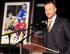 Former Sarnia Sting scoring star Steven Stamkos speaks to a sellout crowd during a ceremony retiring his No. 91 at Progressive Auto Sales Arena in Sarnia, Ont., on Friday, Jan. 12, 2018. (Mark Malone/Postmedia Network)