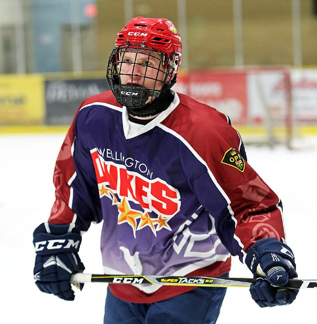 Geoff Lawson picked up an assist for the Wellington Dukes in their 4-3 Saturday night win at Orangeville. (OJHL Images)