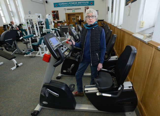 """I consider them . . . my lifeline"": Eunice Diamond, 82, at London Health Sciences Centre's soon-to-close Cardiac Fitness Institute. (MORRIS LAMONT, The London Free Press)"