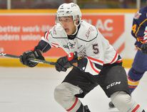 Sean Durzi suffered a high-ankle sprain in a game against the Sault Ste. Marie Greyhounds. He didn't play in the Attack's 2-1 loss to the Sudbury Wolves and there is no timeline for his return. OHL IMAGES.