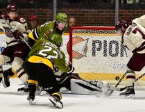 North Bay Battalion overage forward Jake Henderson scores his first goal with his new team to tie the Peterborough Petes 3-3 with 11 seconds remaining at Memorial Gardens, Sunday. The Troops extended their winning streak to five with a 4-3 shootout win. Tom Martineau Photo