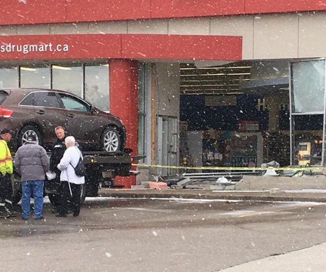 Submitted photo: There is substantial damage after a car drove through the front window of Wallaceburg's Shoppers Drug Mart on Monday afternoon,