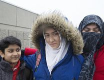 Khawlah Noman appears before the media with her mom Saima Samad (right) to talk about an alleged assault on the way to Pauline Johnson Public School in Scarborough on Friday January 12, 2018. (Stan Behal/Toronto Sun/Postmedia Network)
