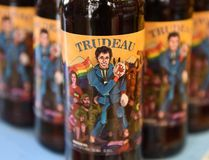 Bottles of Trudeau magnum pale ale brewed at the site with Canadian Prime Minister Justin Trudeau depicted on the label, are displayed at the Beer Theater, a restaurant in the western Ukrainian city of Lviv, on November 16, 2017. YURI DYACHYSHYN / AFP/Getty Images