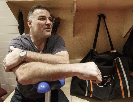 Eric Lindros sits down with Michael Traikos for interview before his sweater being retired in Philadelphia. Monday January 15, 2018. (Postmedia/Toronto Sun Craig Robertson)