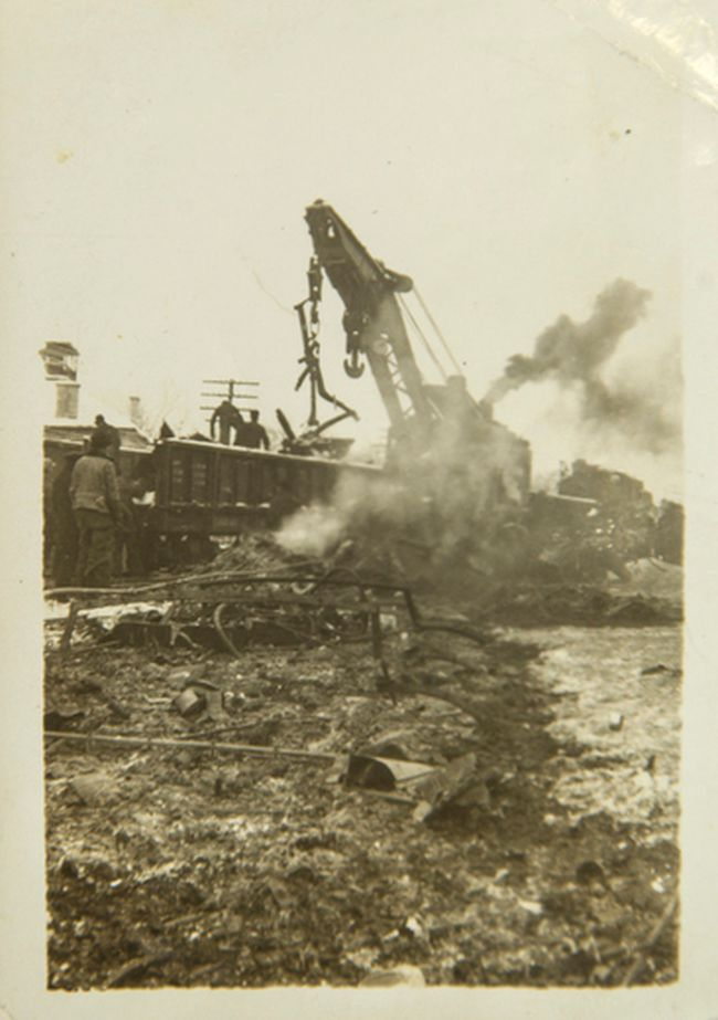Workers clear the wreckage of the Almonte train wreck, December 1942.