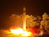 This picture released from North Korea's official Korean Central News Agency (KCNA) on July 29, 2017 and taken on July 28, 2017 shows North Korea's intercontinental ballistic missile (ICBM), Hwasong-14, being lauched at an undisclosed place in North Korea. (AFP PHOTO/KCNA VIA KNS)