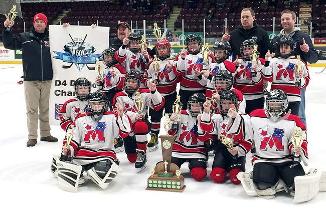 The Mooretown Atom AE Jr. Flags won the D4 championship at the 60th annual Peterborough Liftlock Atom Hockey Tournament on Sunday, Jan. 14, 2018. The Jr. Flags are, front row, left: Jaden Hayward, Paxton Burnie, Hunter Oblak, Cohen Harrison, Nolan Stewart, Jace Burgess and Nathan Sylvester. Middle row: Benjamin Grant, Blake Robinson, Maximus Maoirat, Austin Dalgety, Hudson Rodrigues, Dougal Routley and Adam Lane. Back row: Joe Rodrigues, head coach Spencer Dalgety, Scott Robinson and Jeff Grant. Absent are Zachary Riley and manager Marilyn Maoirat. (Contributed Photo)