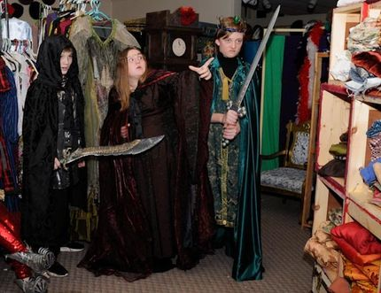 A group of young actors get into character prior to their audition for Merlin's Mirror. From left are Ryan Oliver, Julia Vandendool and Luc Lebert. Submitted photo by Christina Webb/Sarnia This Week