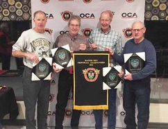 The Hutchison rink, playing out of the Paisley Curling Club, won the Master Men Provincial Championship Jan.14 in St. Mary's. The rink - Skip Al Hutchinson (left) of Owen Sound, Vice Don Shane of Hanover, Second Gary Cobean of Southampton, and Kincardine's Lead Les Shane - advance to the Canadian Championships in BC in April. Submitted photo