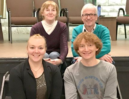 Kincardine's Theatre Guild is in rehearsals for 'Suburban Standoff', which runs February and into March 2018 at Kincardine Centre for the Arts. The cast includes, Back L-R: Angela Gibson (Nancy) and Andy Wasylycia (Hank). Front: Erica Everingham (Candy) and Bruce Fenton (Ty).