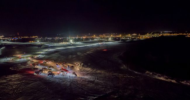 A truck stuck in the ice of the Snye and Clearwater Rivers on January 14, 2018 as seen from this drone photo. Supplied image/ Graham Whatmough
