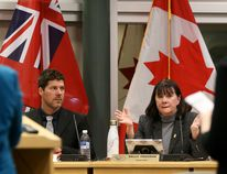 Tim Miller/The Intelligencer Coun. Sally Freeman speaks to representatives from the Ministry of Transportation about how close the Highway 401 on and off ramps are at the Highway 62 interchange during a Quinte West council meeting on Monday in Trenton.