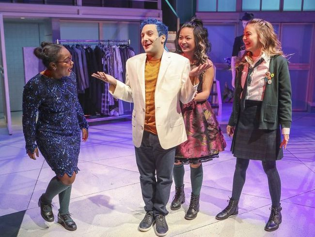 Alessandro Costantini (with Hailey Lewis, left, Stephanie Sy and Sydney Scotia) brings an impish charm to the role of Marc Hall that perfectly suits Prom Queen: The Musical, at the Segal Centre in Montreal in 2016. (JOHN MAHONEY, Postmedia Network)